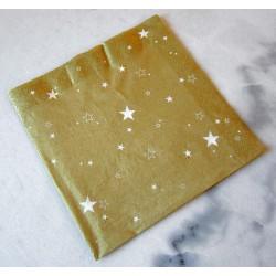 Serviette de noël Or étoiles blanches