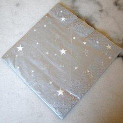 Serviette noël Argent étoiles blanches