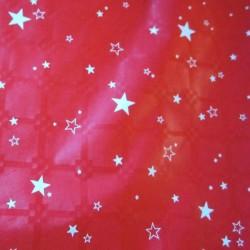 Nappe de noël rouge étoiles blanches