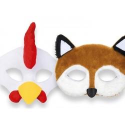 Demi-masques enfant, coq & renard