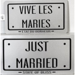 Plaques vive les mariés - argent