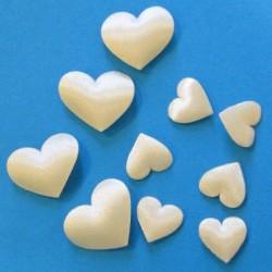 Mini coeurs déco en tissu ivoire
