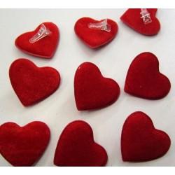 Coeurs rouges déco en velours