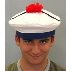 Chapeau de marin pompon rouge