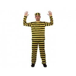 Déguisement prisonnier rayures jaunes