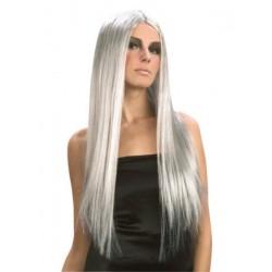Perruque cheveux longs blancs