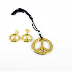 Collier peace & love dore