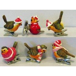 Oiseaux de Noël montés sur pince