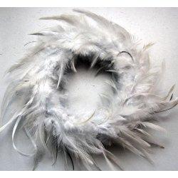 Couronne de plumes gris perle