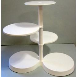 Présentoir blanc rond à gâteaux 5 plateaux