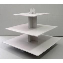 Présentoir blanc carré 3 étages