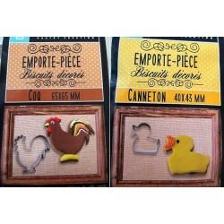 Emporte-pièce coq et canard