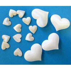 Mini coeurs déco en tissu blanc