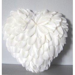 Coeurs en plume blanc 25 cm à pendre