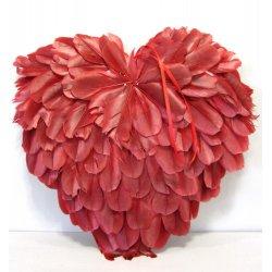 Coeurs en plume rouge foncé 25 cm à pendre