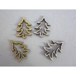 Mini sapins bois pailleté Argent ou Or
