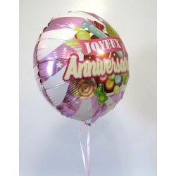 Ballon Alu Anniversaire 45 cm Bonbon Rose