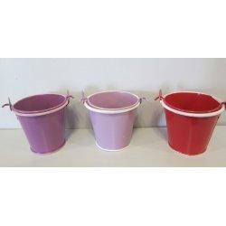 Petits seaux métal violet-lilas ou rouge